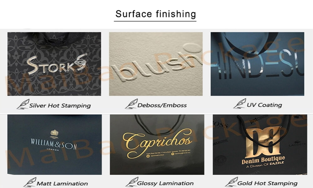 Surface finishing for foil stamping paper bag